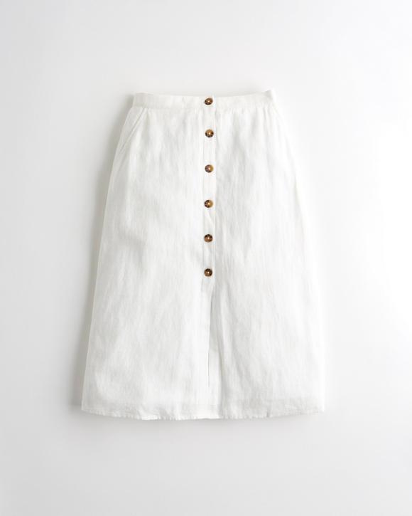 ultra-high-rise-linen-blend-midi-skirt by hollister