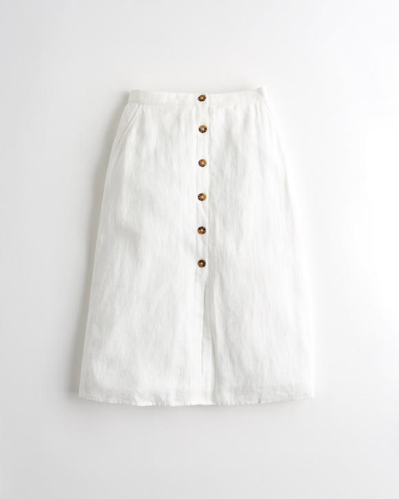 Ultra High Rise Linen Blend Midi Skirt by Hollister
