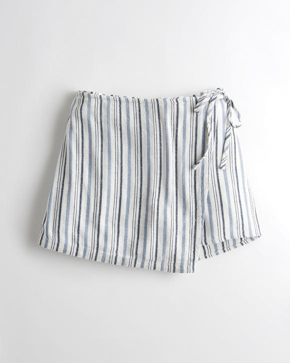 Ultra High Rise Linen Blend Wrap Skort by Hollister