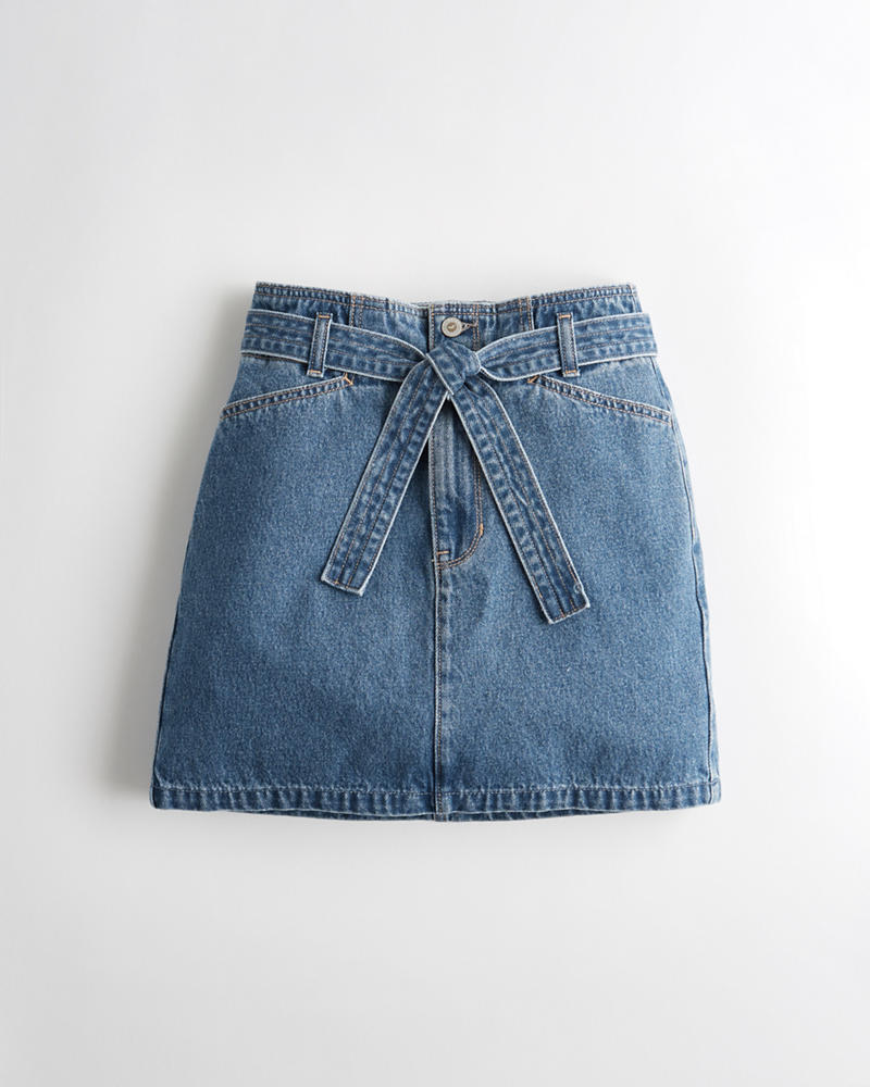 70ecec836ff Girls Ultra High-Rise Belted Denim Skirt | Girls Bottoms ...