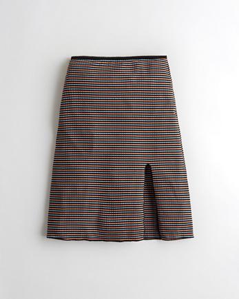 홀리스터 Hollister Ultra High-Rise Midi Skirt,PINK STRIPE