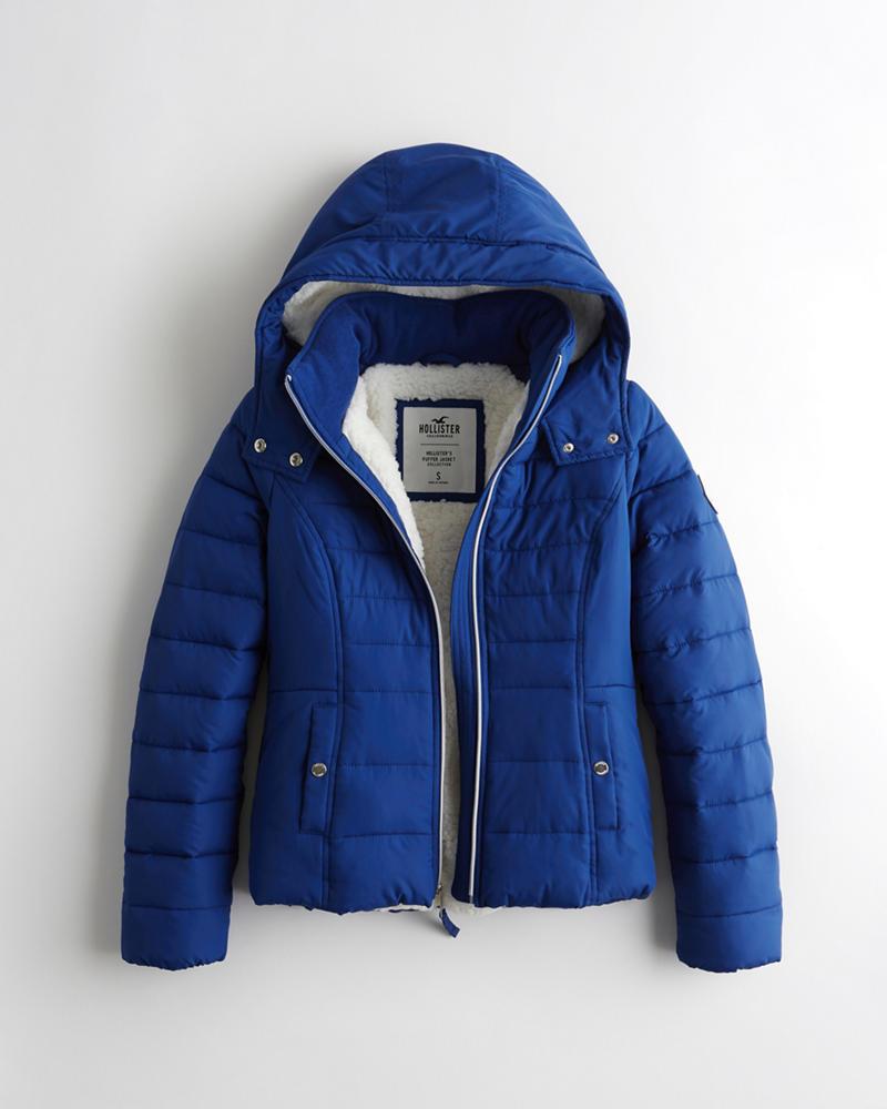 9c1ab125c Girls Sherpa-Lined Puffer Jacket