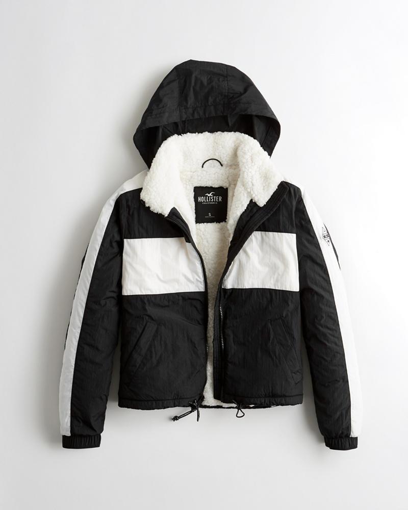 c7636b257361 Girls Sherpa-Lined Full-Zip Windbreaker