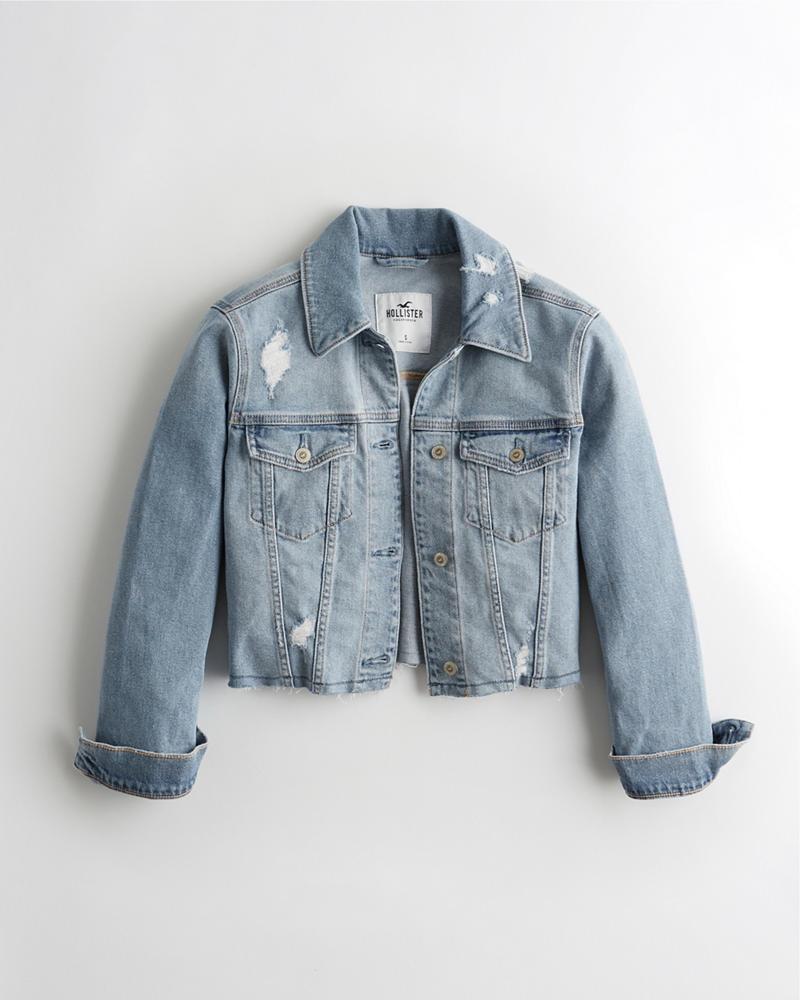 892ff03a0 Girls Stretch Crop Boyfriend Denim Jacket | Girls Jackets & Coats ...