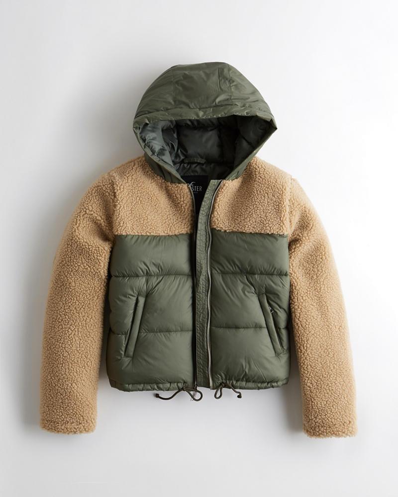 85662723f Girls Sherpa Puffer Jacket