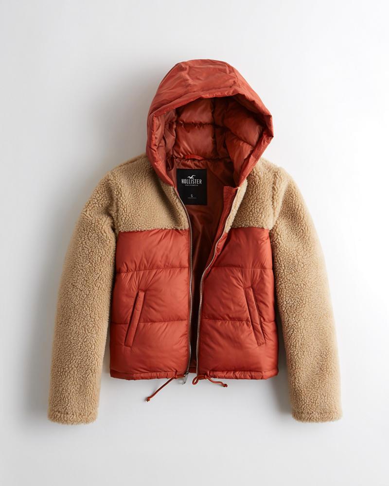f4eb27cb00219 Girls Sherpa Puffer Jacket