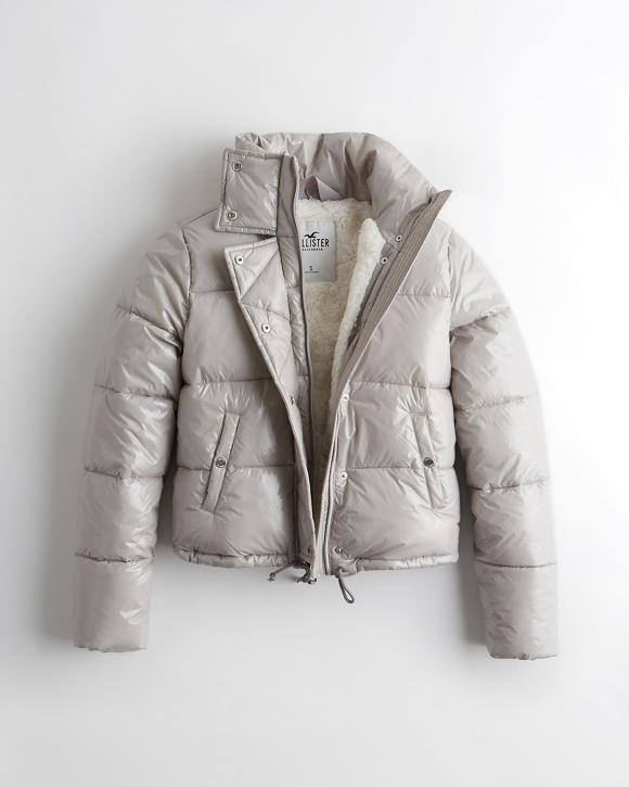 Sherpa Lined Mockneck Puffer Jacket by Hollister