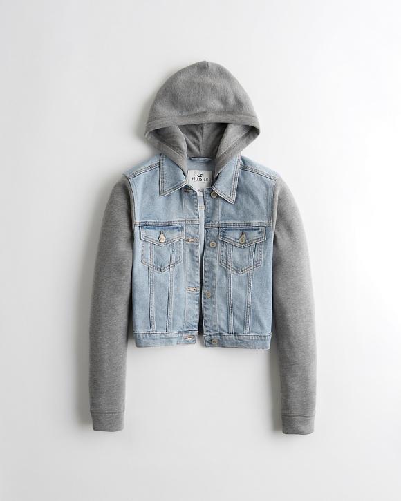 Crop Hooded Denim Jacket by Hollister