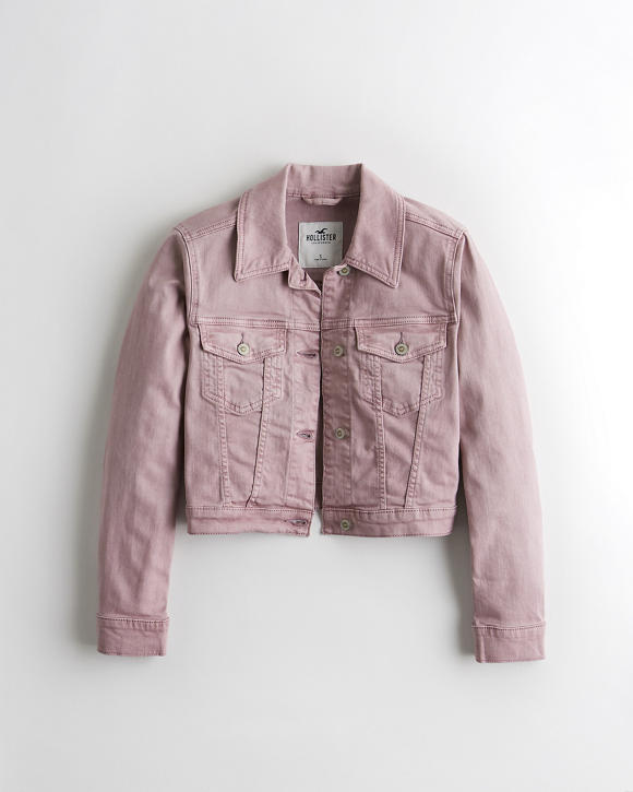 Crop Stretch Denim Jacket by Hollister