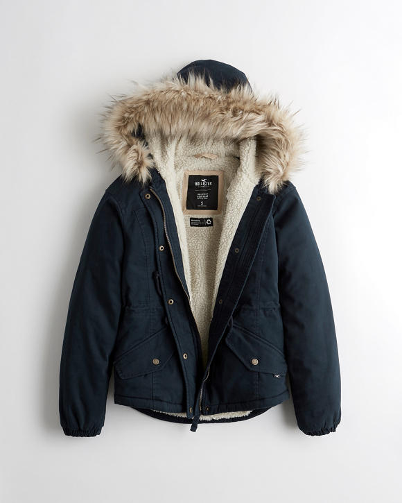 Sherpa Lined Anorak Jacket by Hollister