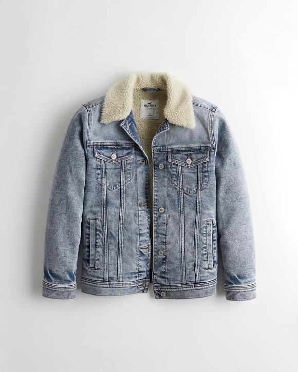 Sherpa Lined Denim Jacket by Hollister