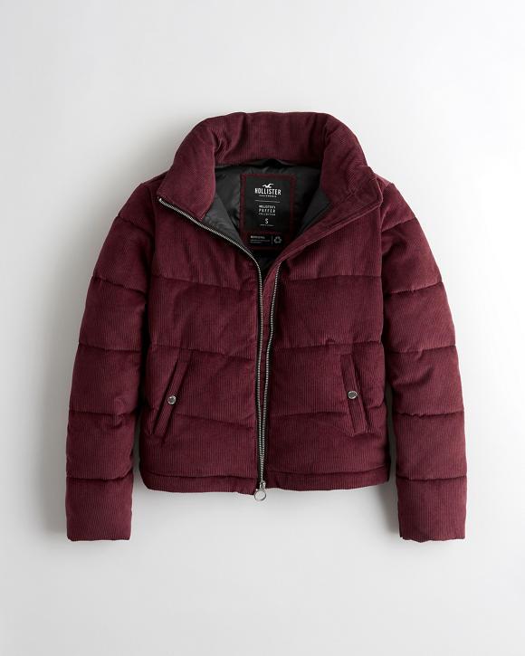 Corduroy Mockneck Puffer Jacket by Hollister