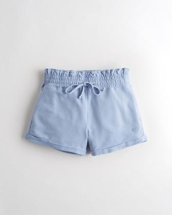 홀리스터 Hollister High-Rise Terry Paper-Bag Short,BLUE