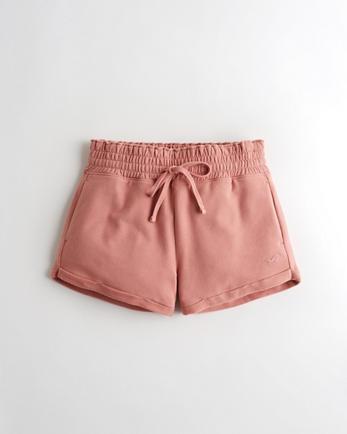 홀리스터 Hollister High-Rise Terry Paper-Bag Short,PINK