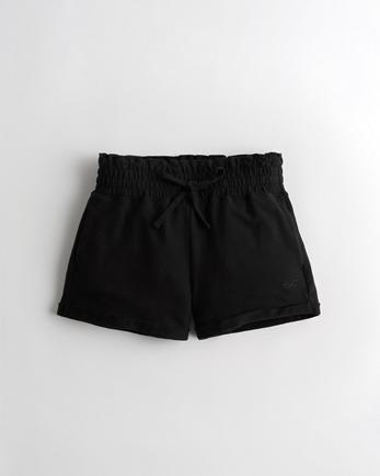 홀리스터 Hollister High-Rise Terry Paper-Bag Short,BLACK
