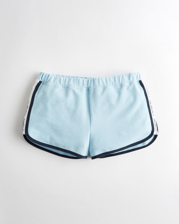 High Rise Terry Curved Hem Shorts by Hollister