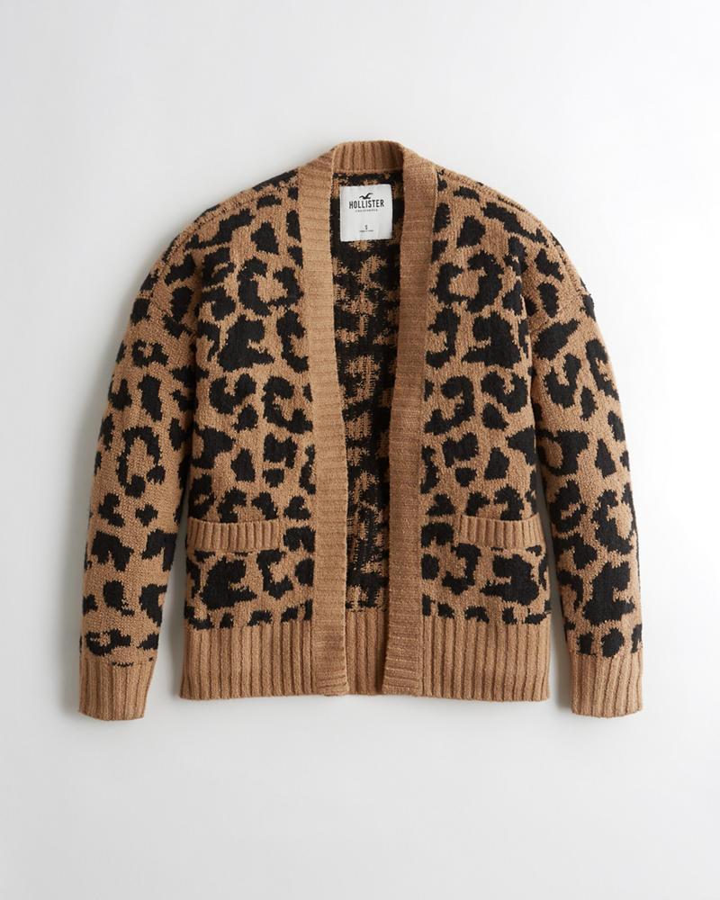 Girls Leopard Jersey Cardigan | Girls Tops | HollisterCo.com