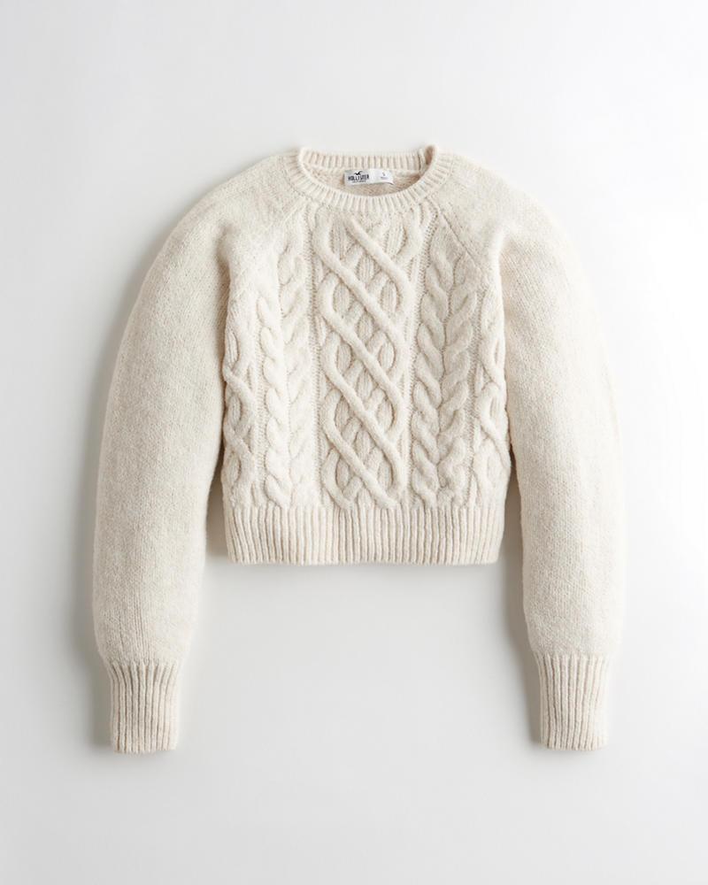 Girls - Suéter con cuello redondo y punto trenzado | Girls - Tops ...