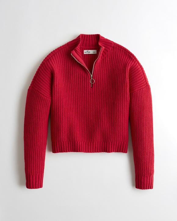 Girls Boyfriend Half Zip Sweater Girls Tops Hollistercocom