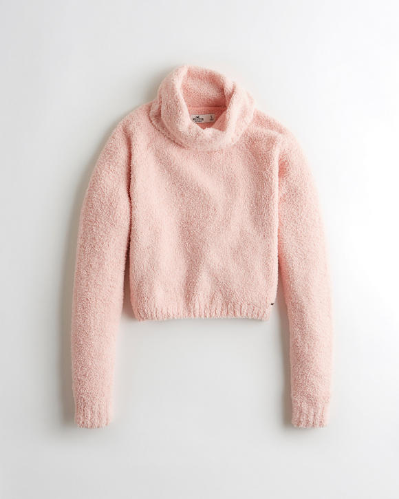 Fuzzy Crop Turtleneck Sweater by Hollister