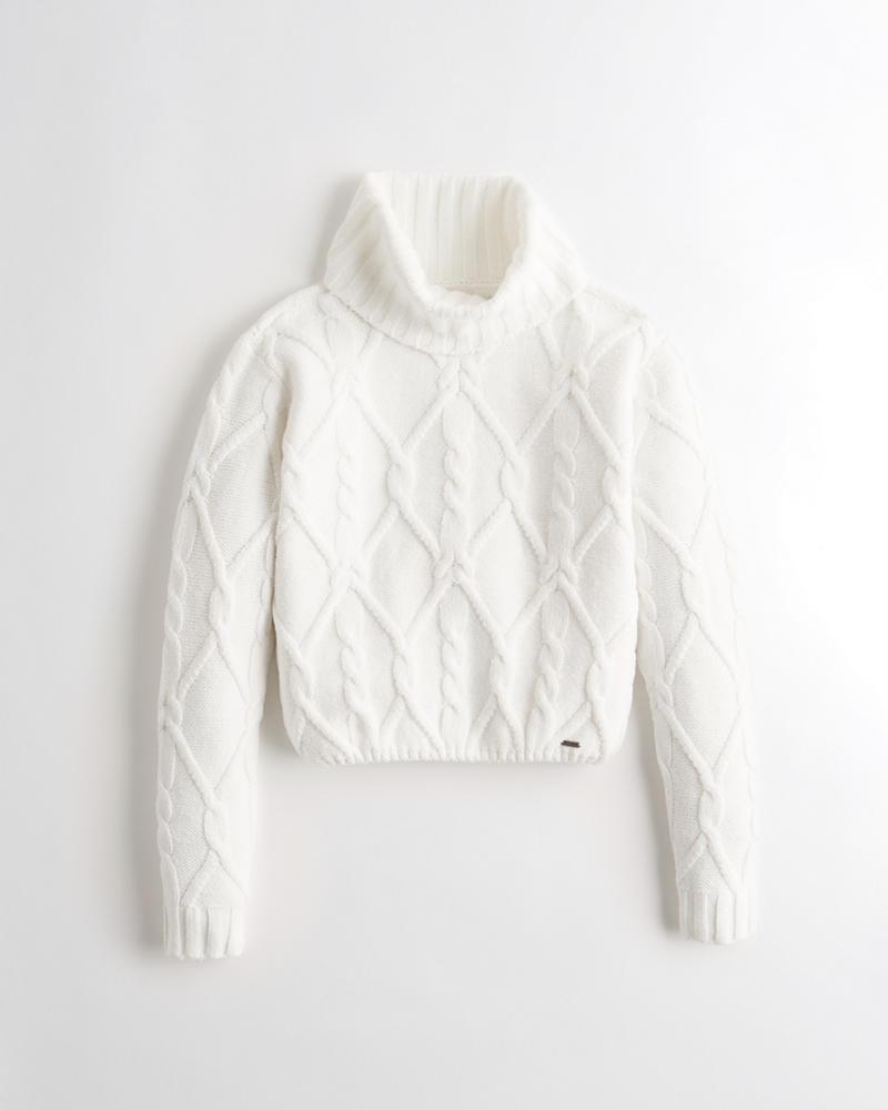 Girls - Suéter corto con cuello alto y punto trenzado | Girls - New ...