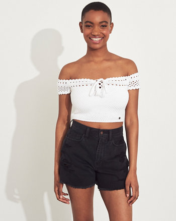 50c1c0ad95a41c Crochet Off-The-Shoulder Crop Top