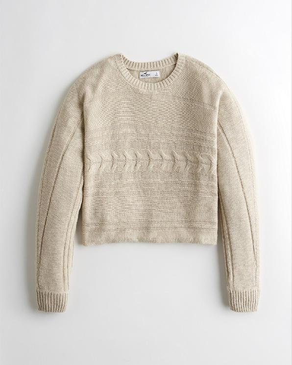 6d69a00d79 Girls Cable Crewneck Sweater | Girls Tops | HollisterCo.com
