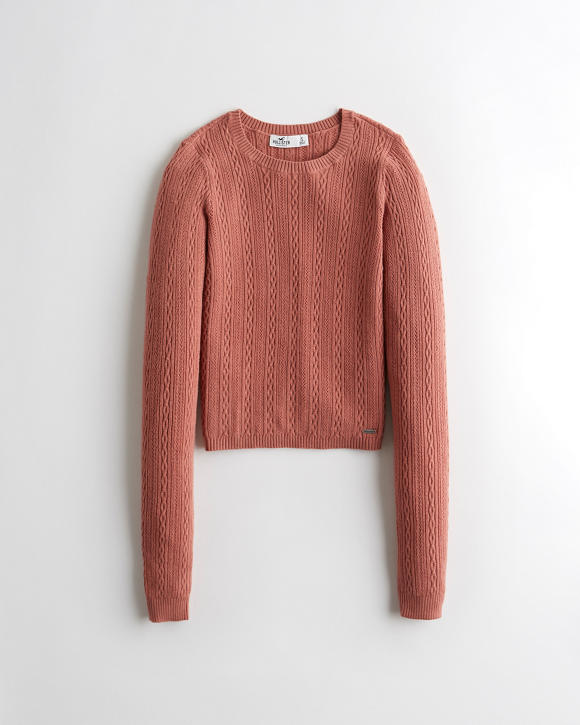 Open Stitch Cable Crewneck Sweater by Hollister