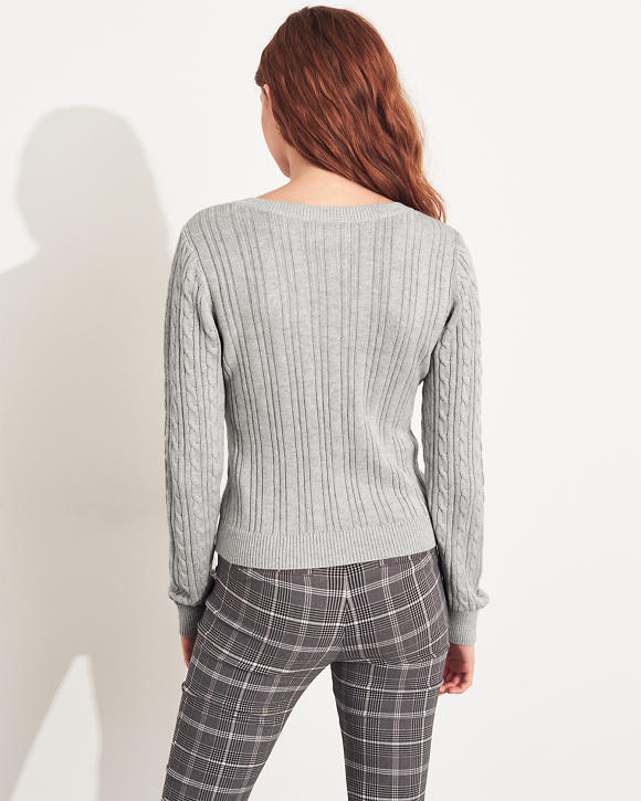 Mädels Pullover mit V Ausschnitt und Zopfmuster | Mädels