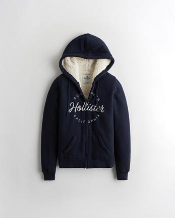 Hollister & Co PulloverHoodie grau, pink Grauer Hollister