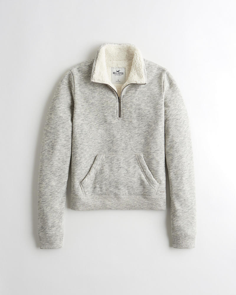e60785d92 Girls Sherpa-Lined Half-Zip Sweatshirt | Girls | HollisterCo.com