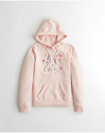 Floral Embroidered Logo Hoodie, LIGHT PINK 308485c729