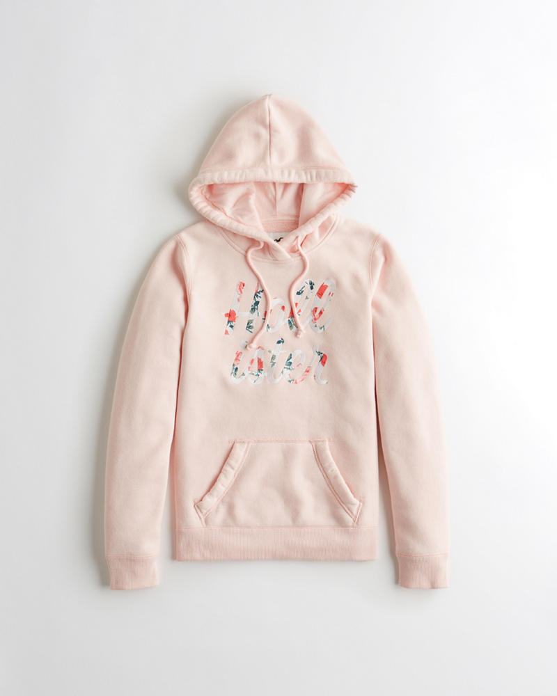 b52f19999 Girls Floral Embroidered Logo Hoodie | Girls Clearance | HollisterCo.com