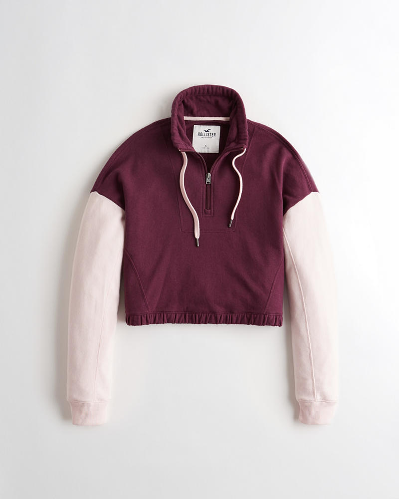 2e7b245f8 Girls Crop Half-Zip Sweatshirt | Girls Clearance | HollisterCo.com