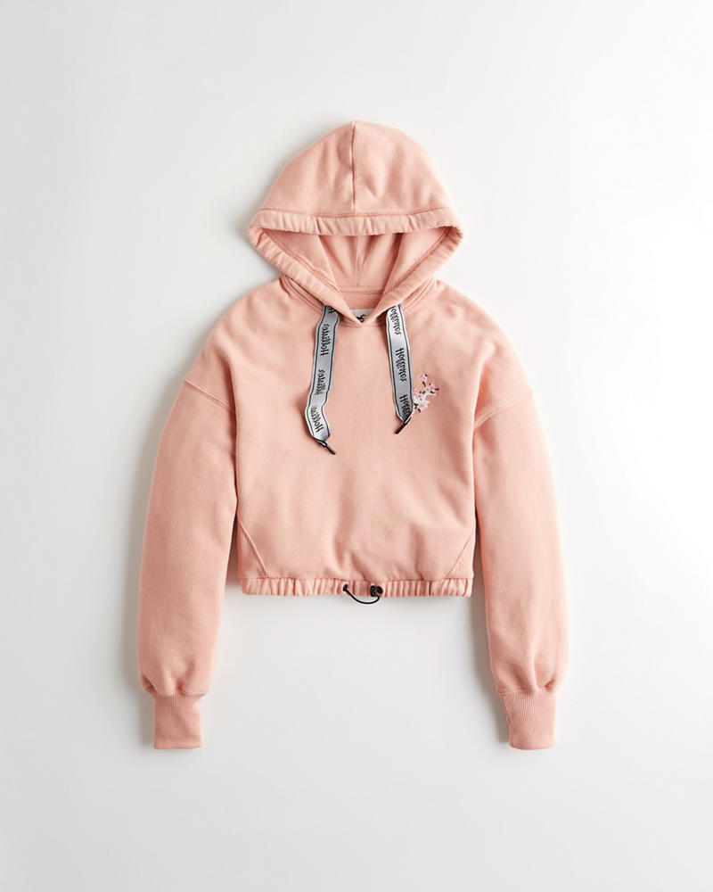 fdb515a14 Girls Embroidered Crop Hoodie | Girls Clearance | HollisterCo.com