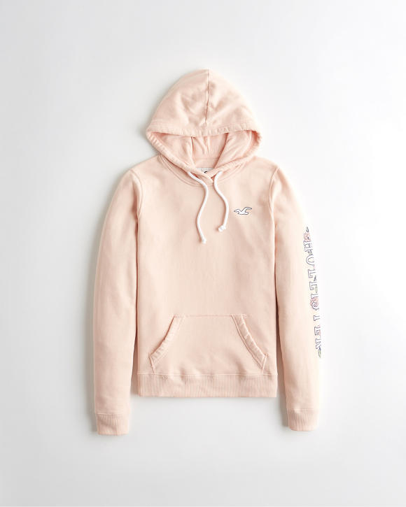 Floral Logo Graphic Hoodie by Hollister