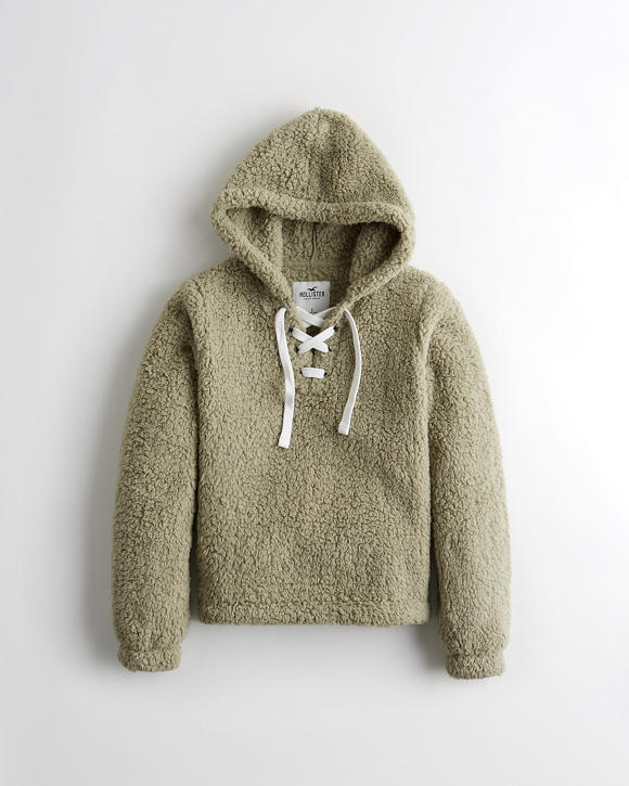 Lace Up Sherpa Hoodie by Hollister