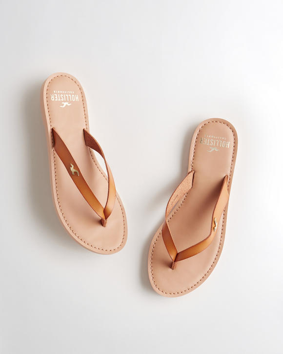 Faux Leather Flip Flop by Hollister