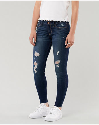 574522df340a Classic Stretch Low-Rise Super Skinny Jeans, Dunkle Waschung mit Rissen