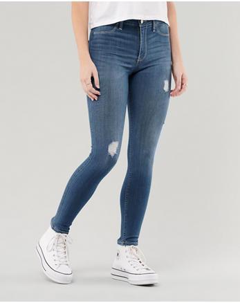 11251aaed7cf High Rise Jeans-Leggings mit innovativem Stretch, Helle mittlere Waschung  mit Rissen