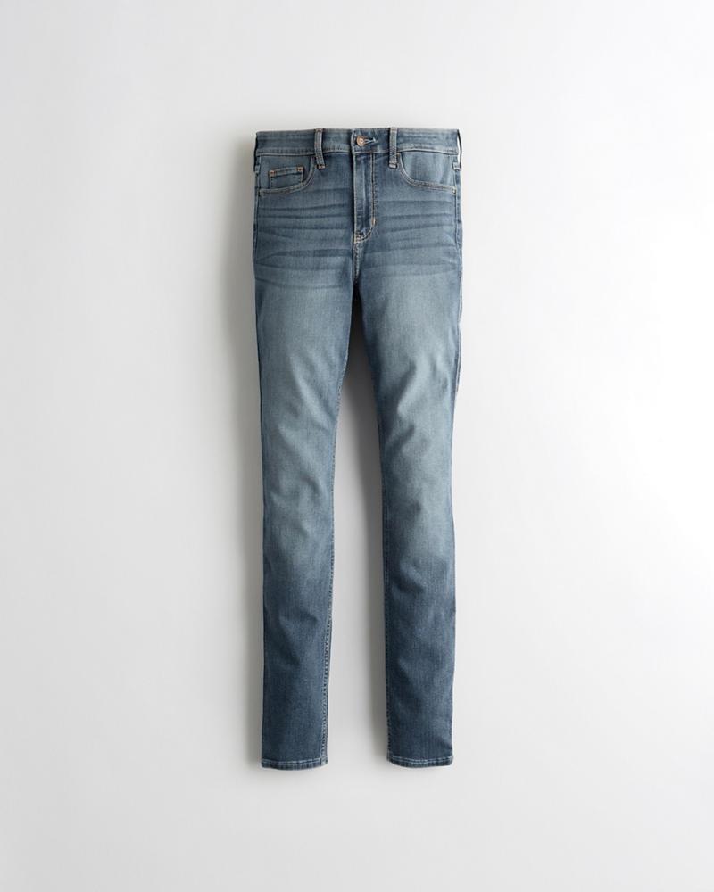 abde7aa77f1 Chicas Jeans superajustados elastizados clásicos de tiro alto ...