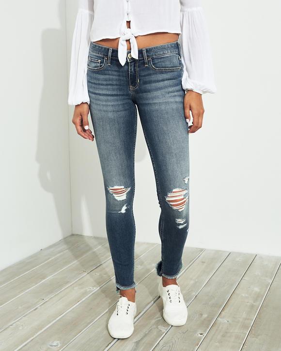 Girls Jeans superajustados de tiro bajo con elasticidad clásica ...