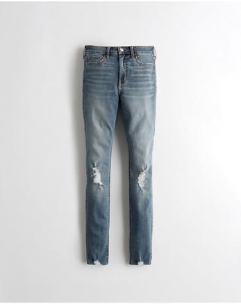 fb0f004fe0ec High Rise Super Skinny Jeans mit Classic Stretch, MITTLERE WASCHUNG MIT  RISSEN UND GROBEM SAUM