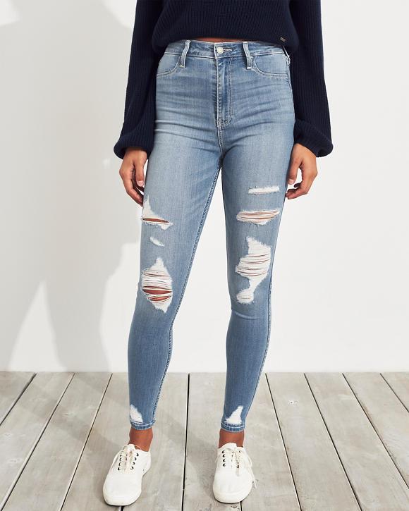 Girls Leggings de jean con tiro superalto y elasticidad avanzada ...