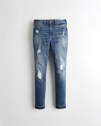 Classic Stretch High-Rise Crop Super Skinny Jeans, MEDIUM DESTROY