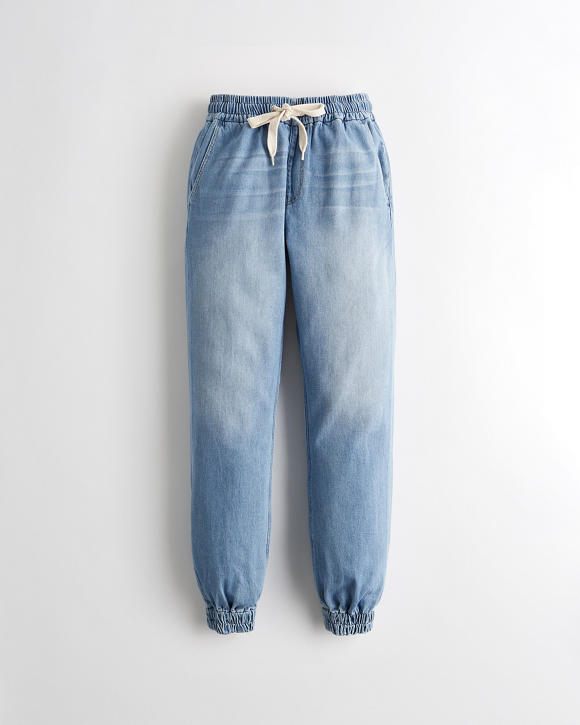 High Rise Denim Joggers by Hollister