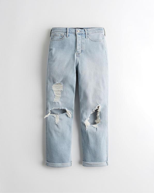 Chicas Jeans Boyfriend De Tiro Alto Con Elasticidad Vintage