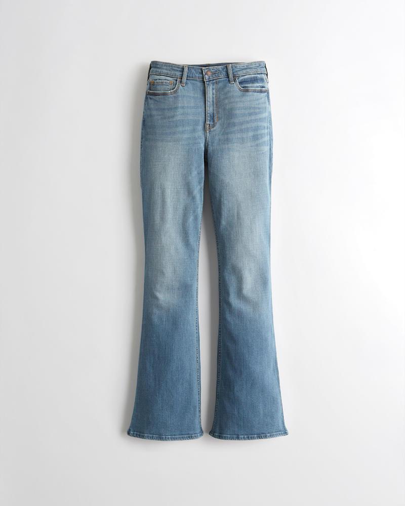 Chicas Jeans Acampanados Elástico Clásicos De Tiro Alto