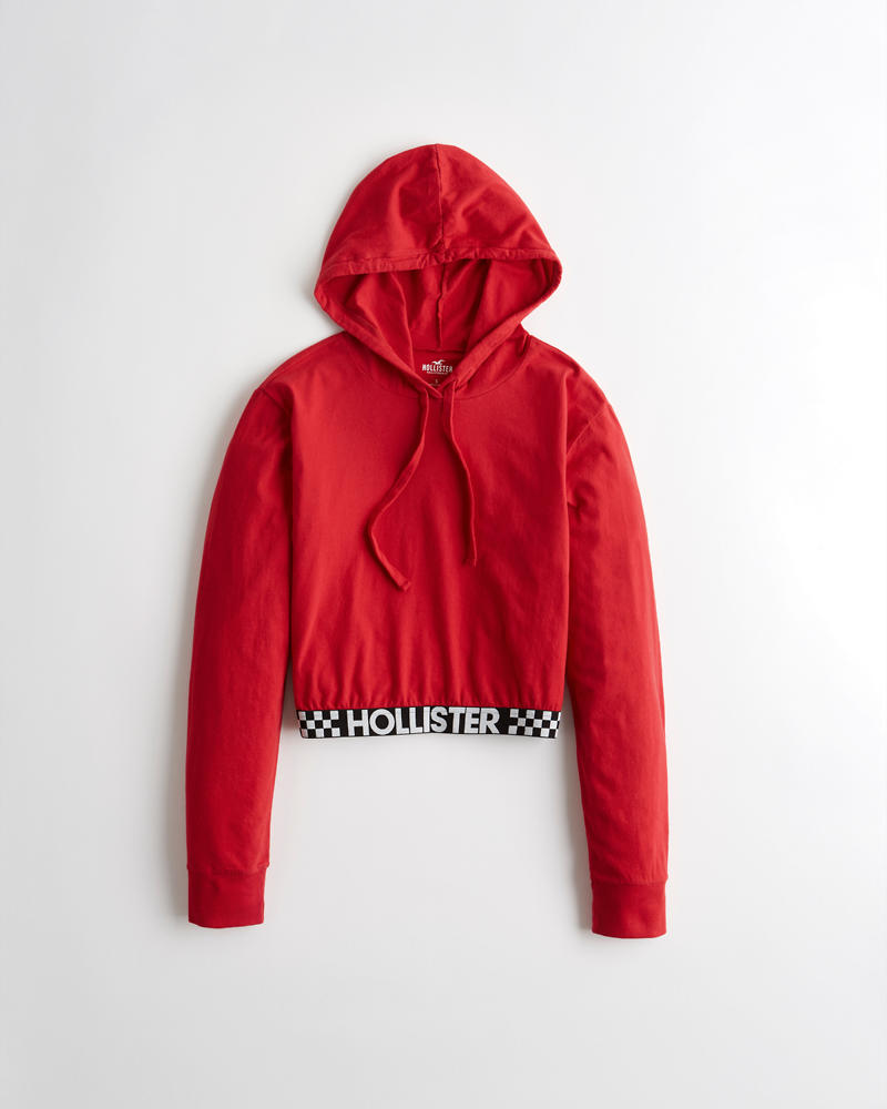 1e6ab62e9df6 Girls Crop Logo Hooded Graphic Tee | Girls Clearance | HollisterCo.com