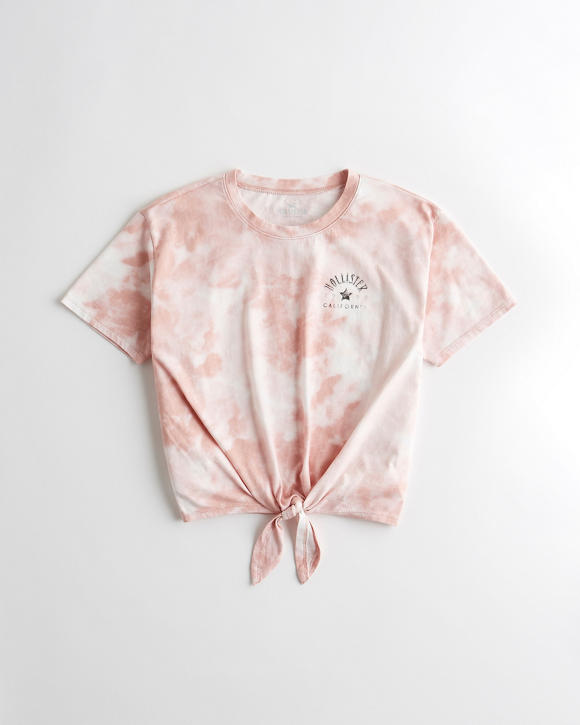 Tie Dye Tie Front Graphic Tee by Hollister